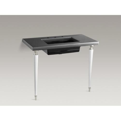 Black Black Octagonal Fireclay/brushed Nickel Tapered Brass Table Legs