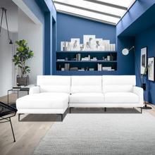 View Product - Divani Casa Paraiso - Modern White Fabric Left Facing Sectional Sofa