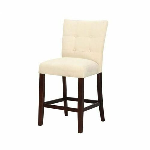 "ACME Baldwin Counter Height Chair (Set-2) - 16832 - Beige Microfiber & Walnutt - 24"" Seat Height"