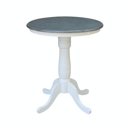 """John Thomas Furniture - 30"""" Pedestal Table in Heather Gray/ White"""