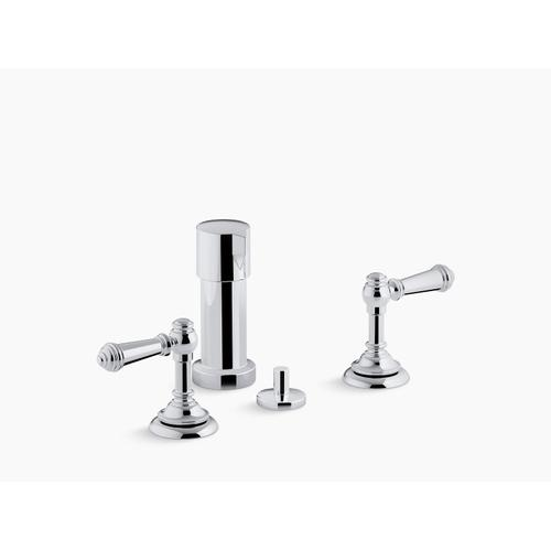 Vibrant Polished Nickel Widespread Bidet Faucet With Lever Handles