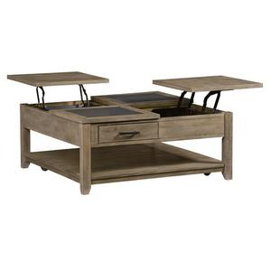Square Lift-Top Cocktail Table - Sandstone/Charcoal Gray Ceramic Tile Finish