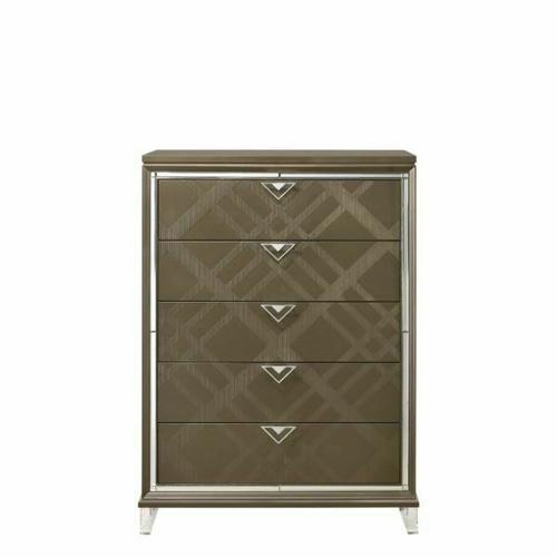ACME Skylar Chest - 25326 - Glam, Contemporary - Wood (Rbw), Paper Veneer (PU), MDF, PB, Acrylic Leg - Dark Champagne