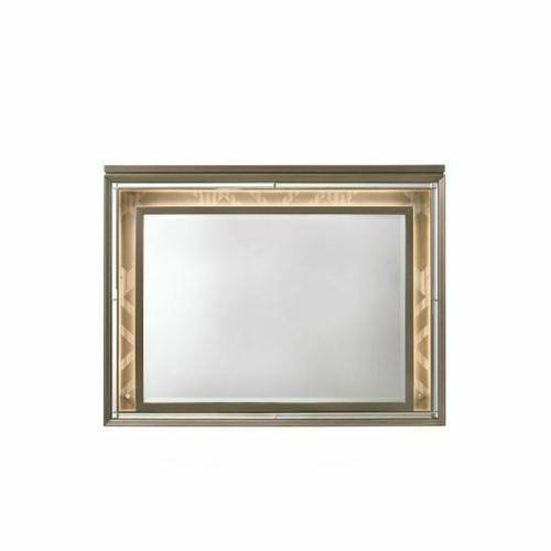 ACME Skylar Mirror w/LED - 25324 - Glam, Contemporary - Mirror, LED, Wood (Rbw), Paper Veneer (PU), MDF, PB - LED and Dark Champagne