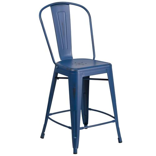 24'' High Distressed Antique Blue Metal Indoor-Outdoor Counter Height Stool with Back