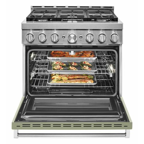 KitchenAid - KitchenAid® 36'' Smart Commercial-Style Gas Range with 6 Burners - Avocado Cream