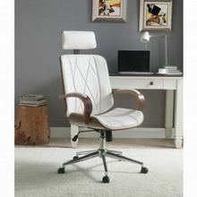 ACME Yoselin Office Chair - 92513 - White PU & Walnut