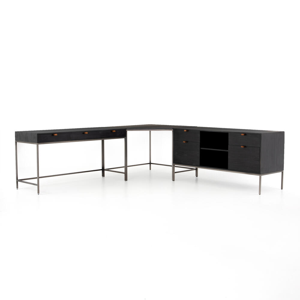 With Filing Credenza Configuration Black Wash Poplar Finish Trey Desk System