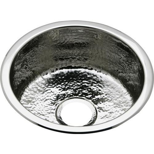 """Elkay - Elkay Stainless Steel 16-3/8"""" x 16-3/8"""" x 7"""", Single Bowl Dual Mount Bar Sink Hammered Mirror"""