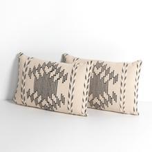 """See Details - Nira Pillow-cream, Black-set of 2-16""""x24"""