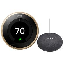 Thermostat Brass With Google Mini Black
