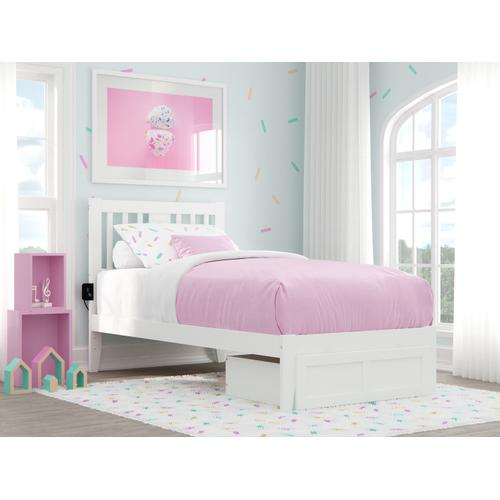 Atlantic Furniture - Tahoe Twin Bed with Foot Drawer and USB Turbo Charger in White