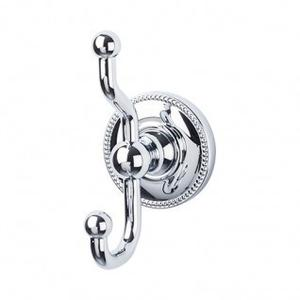 Edwardian Bath Double Hook Beaded Backplate - Polished Chrome