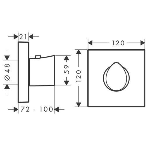 Brushed Nickel Thermostat HighFlow 120/120 for concealed installation