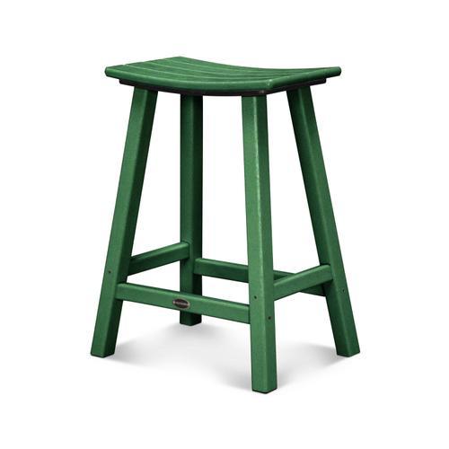 "Green Traditional 24"" Saddle Bar Stool"