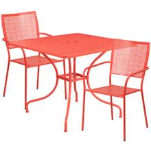 35.5'' Square Coral Indoor-Outdoor Steel Patio Table Set with 2 Square Back Chairs