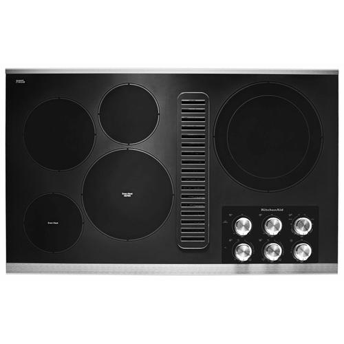 """KitchenAid - 36"""" Electric Downdraft Cooktop with 5 Elements - Stainless Steel"""