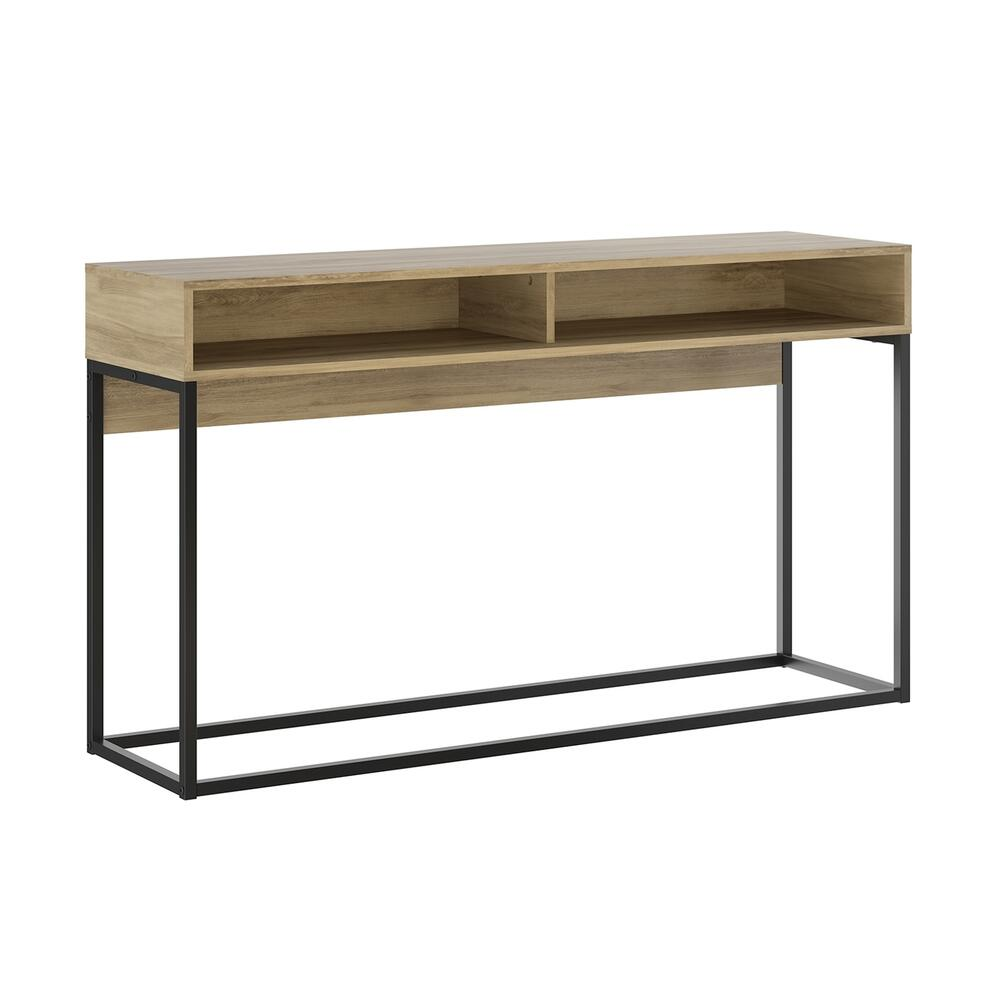 The Noa Console Table Part Of Our Kd Collection In Oak Melamine With Black Painted Metal Frame