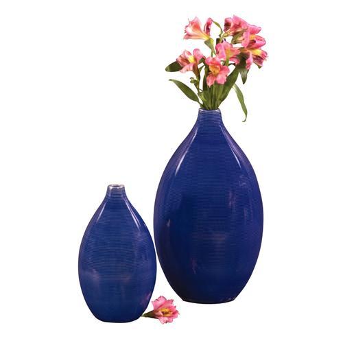 Product Image - Cobalt Blue Glaze Ceramic Vases - Set of 2