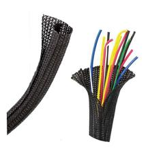1 1/2 in - Self-Wrapping Split Braid Sleeving Black - 25 ft