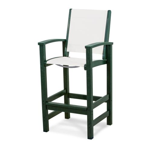 Green & White Coastal Bar Chair