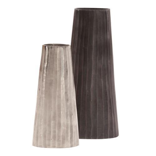 Howard Elliott - Silver Chiseled Metal Vase