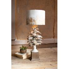 See Details - table lamp with pine cone base and metal barrel shade