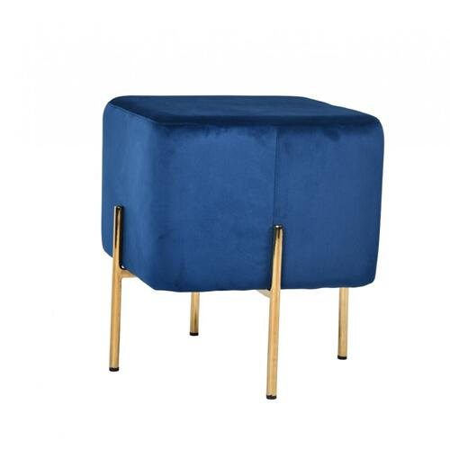 VIG Furniture - Modrest Daphne Modern Blue Velvet & Gold Ottoman