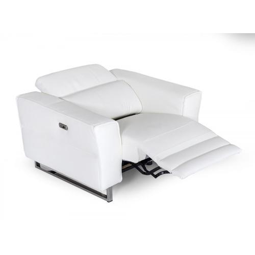 VIG Furniture - Accenti Italia Lucca - Italian Modern White Leather Armchair w/ Electric Recliner