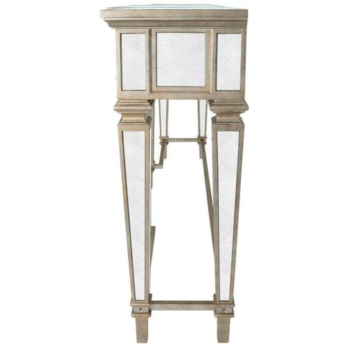 Butler Specialty Company - Crafted with Birch Wood solids, mirror and trimmed in antique pewter...this spectacular console table is making a statement! This table is scaled to be used at an entry, but will definitely work behind a sofa or anywhere you'd like to add a touch of elegance. Three generous sized drawers, offer storage options.
