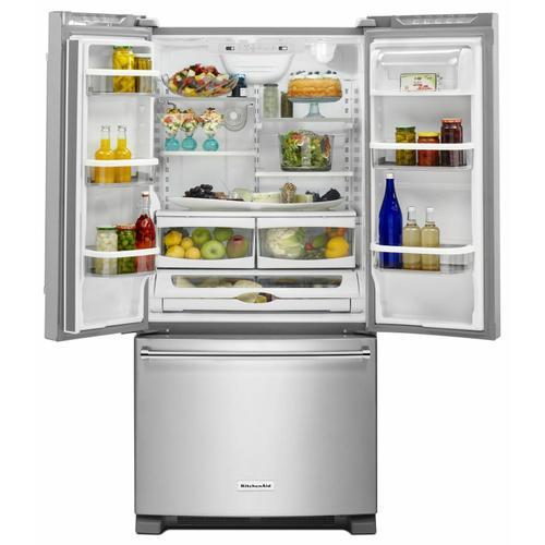 Gallery - 22 Cu. Ft. 33-Inch Width Standard Depth French Door Refrigerator with Interior Dispenser - Stainless Steel