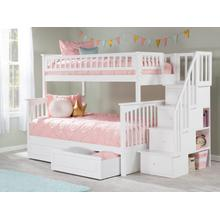 View Product - Columbia Staircase Bunk Bed Twin over Full with Raised Panel Bed Drawers in White