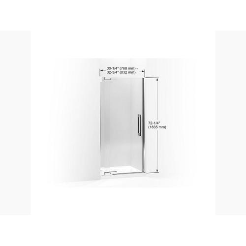 """Crystal Clear Glass With Anodized Brushed Bronze Frame Pivot Shower Door, 72-1/4"""" H X 30-1/4 - 32-3/4"""" W, With 1/2"""" Thick Crystal Clear Glass"""