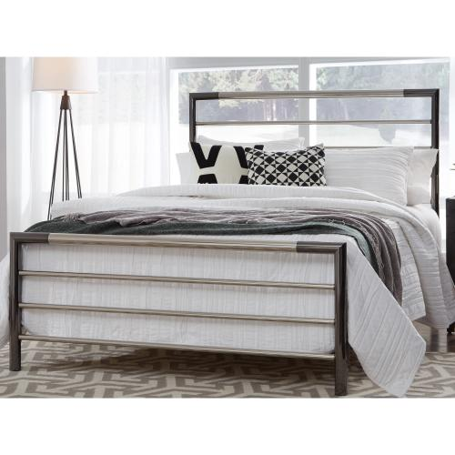Kenton Metal Headboard and Footboard Bed Panels with Horizontal Bar Design, Black Nickel and Chrome Finish, Queen