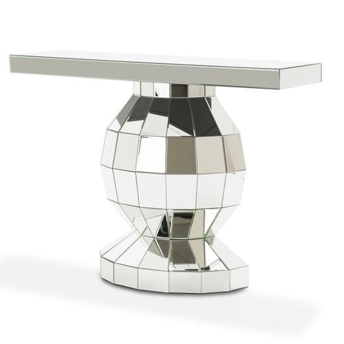 Silver Mirrored Globe Console Table