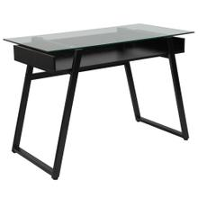 See Details - Glass Computer Desk with Shelf and Black Metal Legs