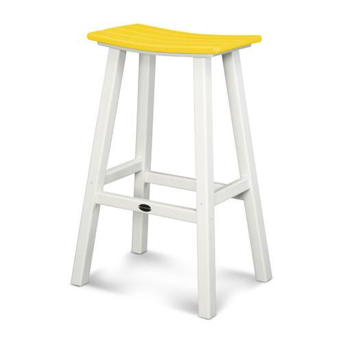 "White & Lemon Contempo 30"" Saddle Bar Stool"