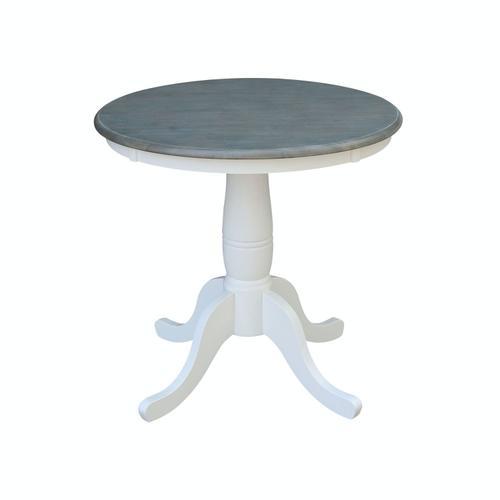 John Thomas Furniture - 30'' Pedestal Table in Heather Gray/White