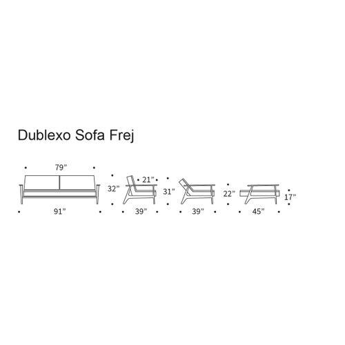 "DUBLEXO SOFA, 45""X83""/SP FREJ WOOD ARMREST/LEGS, OAK/SP FREJ METAL BARS"