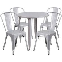 30'' Round Silver Metal Indoor-Outdoor Table Set with 4 Cafe Chairs
