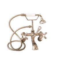 Clawfoot Tub Filler - Elephant Spout, Hand Held Shower, Swivel Mounts - Cross Handles / Polished Nickel