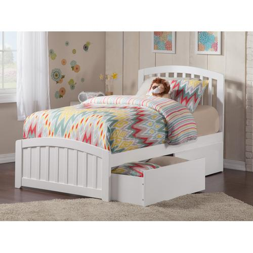 Richmond Twin XL Bed with Matching Foot Board with 2 Urban Bed Drawers in White