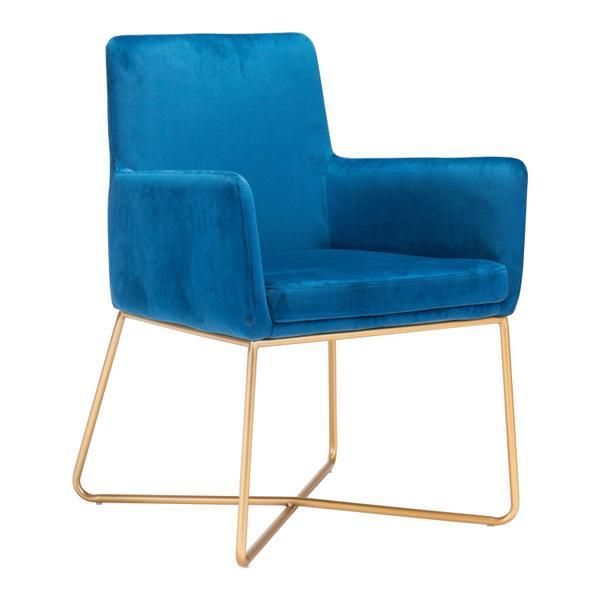 See Details - Honoria Arm Chair Blue & Gold