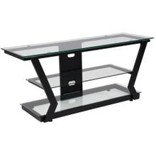 Glass TV Stand with Black Metal Frame