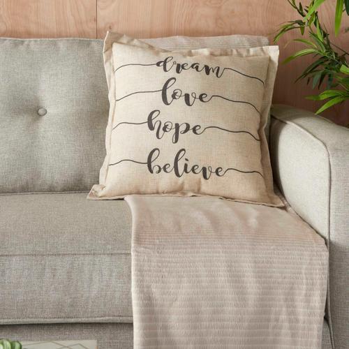"""Kathy Ireland Pillow L1818 Natural 18"""" X 18"""" Throw Pillow"""