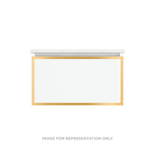 """Profiles 30-1/8"""" X 15"""" X 18-3/4"""" Modular Vanity In Satin White With Matte Gold Finish, Slow-close Plumbing Drawer and Selectable Night Light In 2700k/4000k Color Temperature (warm/cool Light)"""