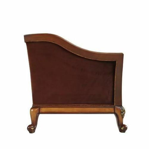 ACME Beredei Loveseat w/5 Pillows - 50666 - Fabric & Antique Oak