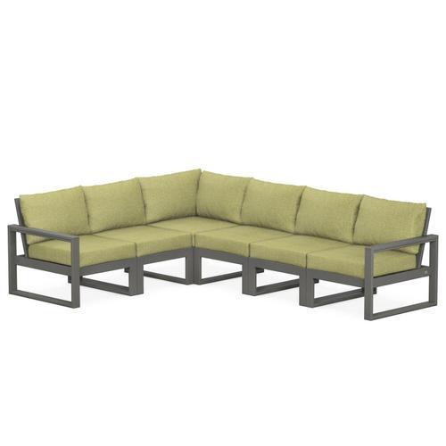 Polywood Furnishings - EDGE 6-Piece Modular Deep Seating Set in Slate Grey / Chartreuse Boucle