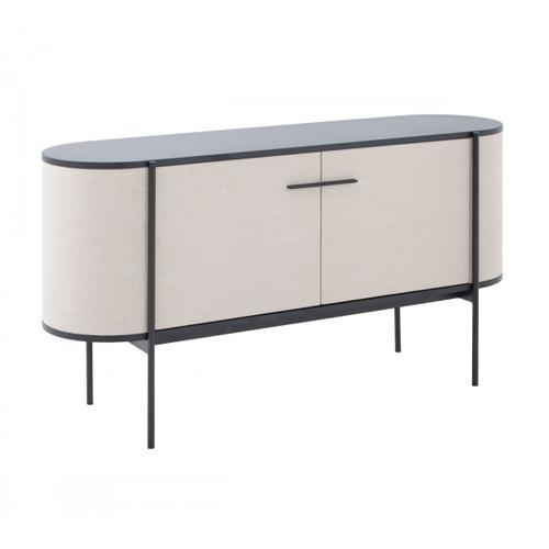 VIG Furniture - Modrest Hobart - Modern Beige Fabric & Black Metal Buffet