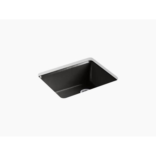 "Black Black 25"" X 22"" X 9-5/8"" Undermount Single-bowl Kitchen Sink With Rack"